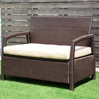 Wicker Outdoor Patio Loveseat Couch with Beige Cushion