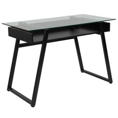 43 in. Rectangular Clear/Black Writing Desks with Keyboard Tray