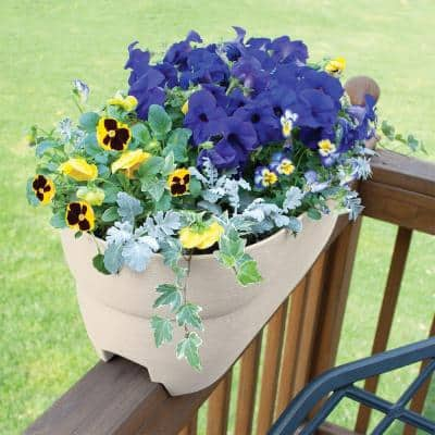 Bloomers Series 24 in. W x 12 in. H Tan Resin Deck and Porch Rail Planter