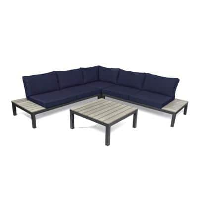 Lakeview Aluminum Outdoor Sectional Set with Navy Cushions