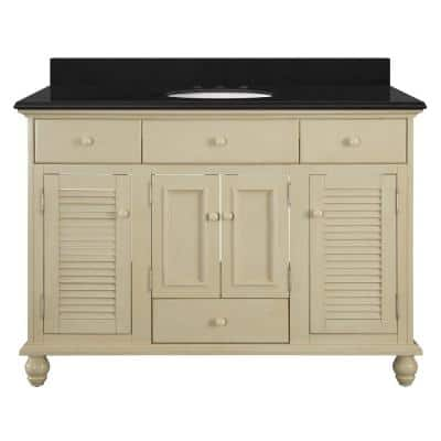 Cottage 49 in. W x 22 in. D Bath Vanity in Antique White with Granite Vanity Top in Midnight Black with Oval White Basin