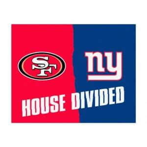 NFL 49ers / Giants Red House Divided 3 ft. x 4 ft. Area Rug
