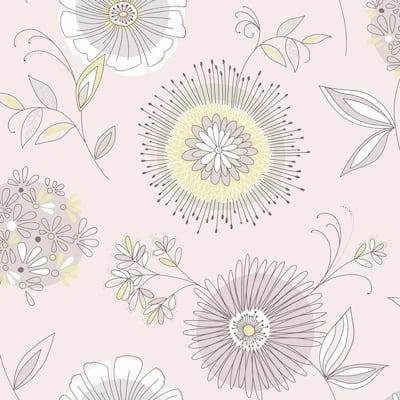 Floral Purple Paper Wallpaper Home Decor The Home Depot