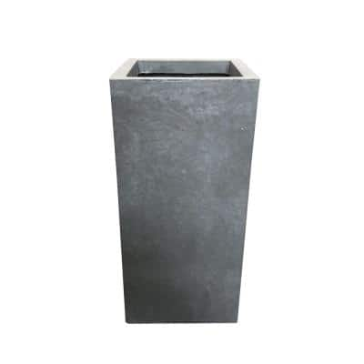 24 in. Tall Slate Gray Lightweight Concrete Rectangle Modern Outdoor Planter