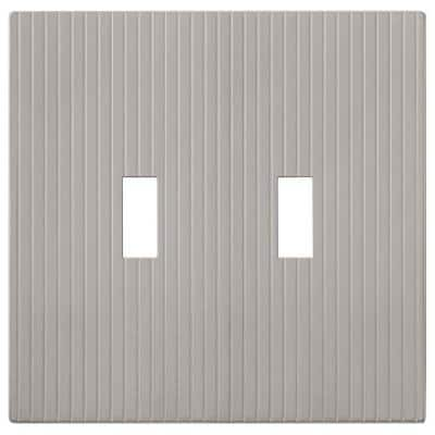 Mies 2 Gang Toggle Metal Wall Plate - Satin Nickel