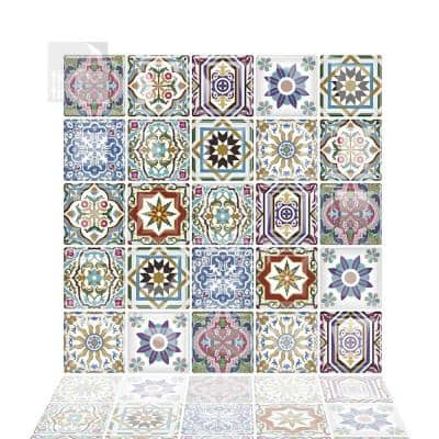 Moroccan Vora 10 in. W x 10 in. H Multi-Color Peel and Stick Decorative Mosaic Wall Tile Backsplash (6-Tiles)