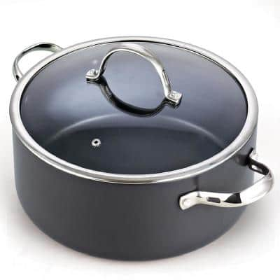 7 qt. Round Hard-Anodized Aluminum Nonstick Casserole Dish in Black with Glass Lid