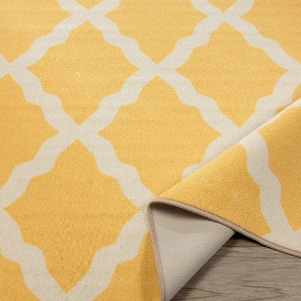 Ottomanson Glamour Collection Contemporary Moroccan Trellis Design Yellow 5 Ft X 7 Ft Kids Area Rug Pnk7021 5x7 The Home Depot