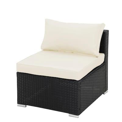 Black 2-Piece PE Resin Wicker Armless Patio Sofa with Beige Cushions