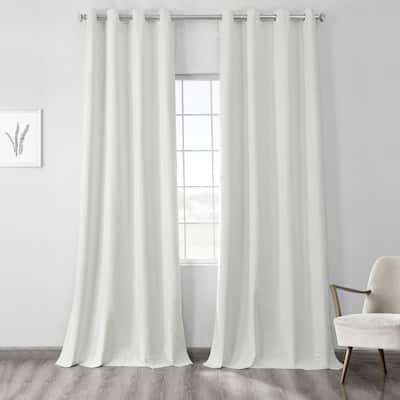 Starlight Off White Cross Linen Weave Grommet Blackout Curtain - 50 in. W x 108 in. L