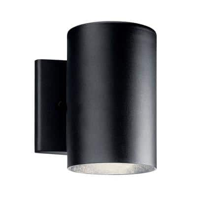 Independence 7 in. 1-Light Textured Black Integrated LED Outdoor Wall Cylinder Light