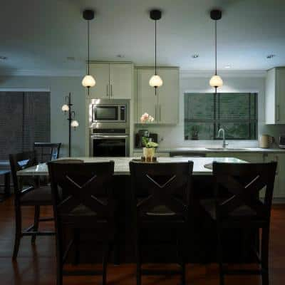 Lecce 5.3-Watt Integrated LED Pendant Black with Teardrop Shade 4.25 in.