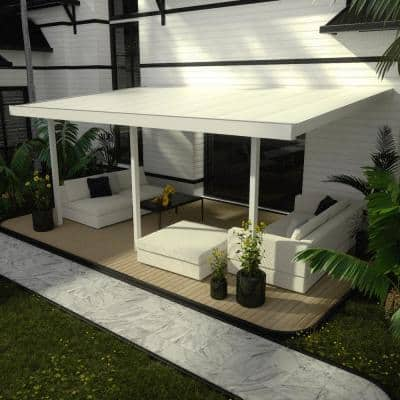 Contempra 20 ft. x 12 ft. 40 lbs. White Snow Load Patio Cover with 3 in. Solid Insulated Roof Panels (3-Posts)