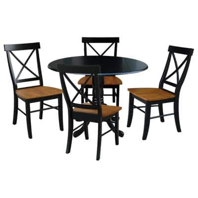5-Piece 42 in. Black and Cherry Dual Drop Leaf Table Set with 4-Side chairs