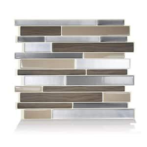 Milano Lino 11.55 in W x 9.63 in H Brown Peel and Stick Self-Adhesive Mosaic Wall Tile Backsplash (4-Pack)