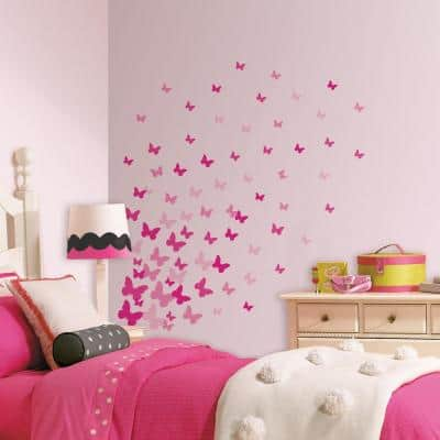 5 in. x 11.5 in. Pink Flutter Butterflies 75-Piece Peel and Stick Wall Decal