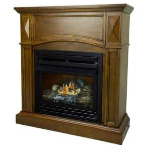 20,000 BTU 36 in. Compact Convertible Ventless Natural Gas Fireplace in Heritage