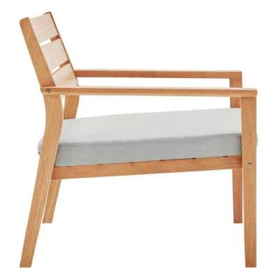 Breton Natural Ash Wood Outdoor Lounge Chair with Taupe Cushion