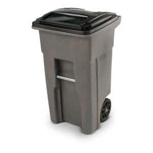 32 Gal. Greystone Trash Can with Wheels and Attached Lid