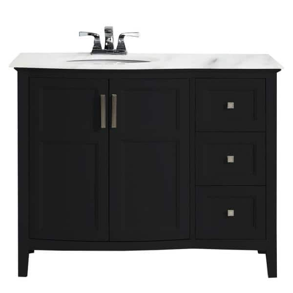 Simpli Home Winston 42 In Rounded Front Bath Vanity In Black With Marble Extra Thick Vanity Top In Bombay White With White Basin Axcvwnrbl 42 The Home Depot