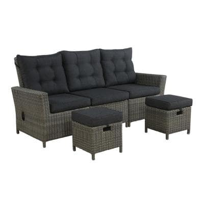 Asti 3-Piece All-Weather Wicker Outdoor Loveseat Seating Set with Dark Gray Cushions
