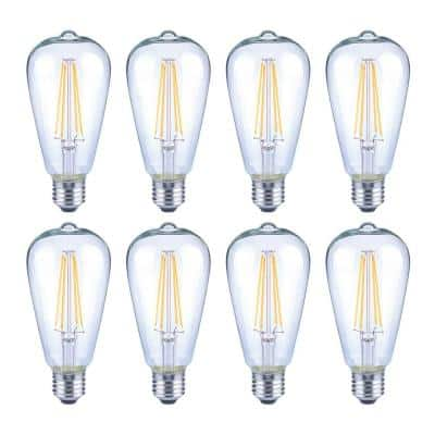 40-Watt Equivalent ST19 Dimmable Clear Glass Filament Vintage Edison LED Light Bulb Daylight (8-Pack)