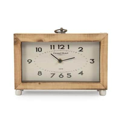 Wooden Box with Metal Ring Table Clock
