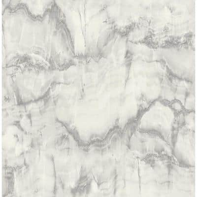 Aura Silver Marble 20.5 in. x 33 ft. Unpasted Peelable Paper Wallaper