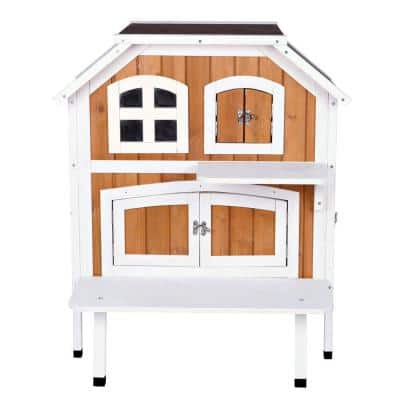 30.5 in. L x 22.75 in. W x 35.25 in. H 2-Story Wooden Cat Cottage