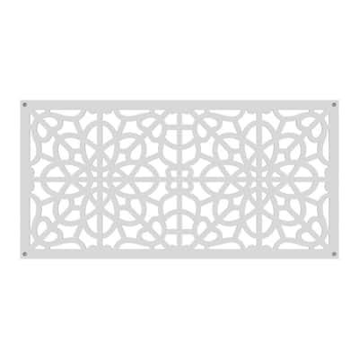 2 ft. x 4 ft. Fretwork White Vinyl Decorative Screen Panel