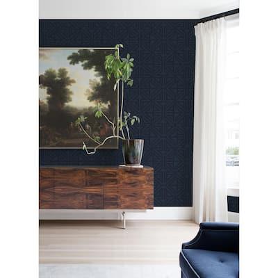Kachel Indigo Geometric Strippable Non Woven Wallpaper