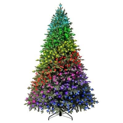 7.5 ft Swiss Mountain Black Spruce Twinkly Rainbow LED Pre-Lit Christmas Tree with 600 RGB LED Technology Dome Lights