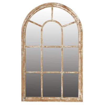 Large Arch Tan Brown Natural Antiqued Classic Mirror (54.3 in. H x 34 in. W)