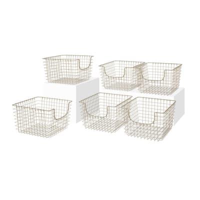 Scoop 13 in. D x 12 in. W x 8 in. H Medium Satin Nickel Steel Wire Storage Bin Basket Organizer (6-Pack)