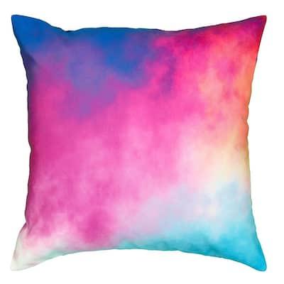 Nightfall Watercolor Multi Color 18 in. x 18 in. Indoor/Outdoor Throw Pillow