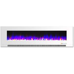 60 in. Wall-Mount Electric Fireplace in White with Multi-Color Flames and Crystal Rock Display