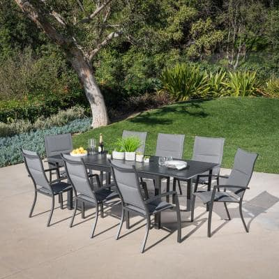 Turner 9-Piece Aluminum Outdoor Dining Set with 8-Padded-Sling Dining Chairs and 40 in. x 94 in. Table