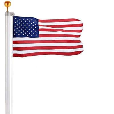 25 ft. Aluminum Extra Thick Sectional Flagpole with 3x5 Polyester U.S. Flag