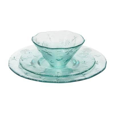 Recycled Clear Glass, 12 piece Coastal Dinnerware Set, Service for 4