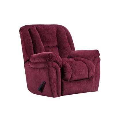 Showbiz 41 in. Width Big and Tall Wine Chenille Rocking Zero Gravity Recliner
