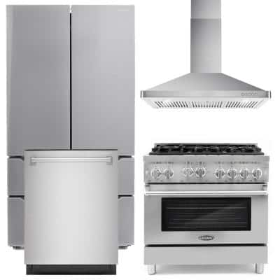 Commercial-Style 36 in. 4.5 cu. ft. Gas Range with 6 Burners and Heavy Duty Cast Iron Grates in Stainless Steel Bundle
