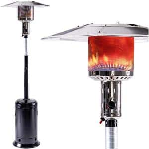 47000 BTU Residential Stainless Steel Standing Gas Patio Heater with Portable Wheels