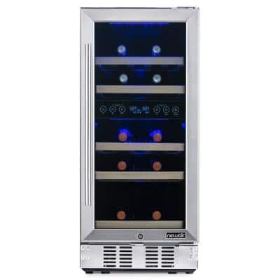 Dual Zone 15 in. 29-Bottle Built-In Wine Cooler Fridge with Recessed Kickplate and Quiet Operation in Stainless Steel