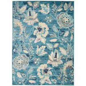Tranquil Turquoise 5 ft. x 7 ft. Floral Modern Area Rug