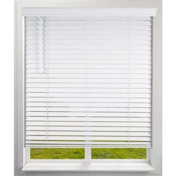 Arlo Blinds White Cordless Room Darkening Faux Wood Blind With 2 In Slats 22 5 In W X 73 In L Actual Size 04cf2224730 The Home Depot