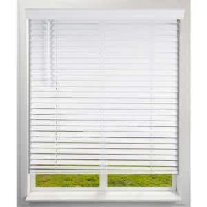 White Cordless Faux Wood Blinds with 2 in. Slats 34 in. W x 60 in. L