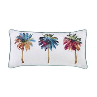 Palm Tree White Polyester 11 in. x 22 in. Decorative Throw Pillow