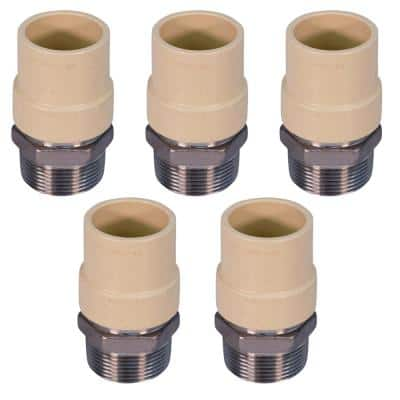 1-1/4 in. MIP x 1-1/4 in. Lead Free Stainless Steel CPVC Adapter Pipe Fitting (5-Pack)