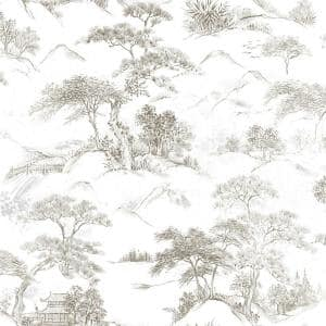 Brown and White Oriental Toile Peel and Stick Wallpaper (Covers 28.29 sq. ft.)