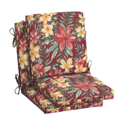 18 in. x 20 in. Outdoor High Back Dining Chair Cushion in Ruby Clarissa Tropical (2-Pack)